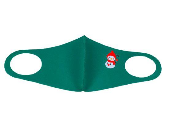 Маска многоразовая защитная зелёная с новогодним принтом СНЕГОВИК, С рисунком: с принтом, Размер: S-M (окружность 48-55), Цвет маски: Зелёная, Тип товара: Многоразовая маска, фото