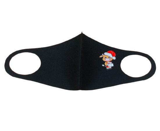Маска многоразовая защитная чёрная с новогодним принтом БЫЧОК, С рисунком: с принтом, Размер: S-M (окружность 48-55), Цвет маски: Чёрная, Тип товара: Многоразовая маска, фото