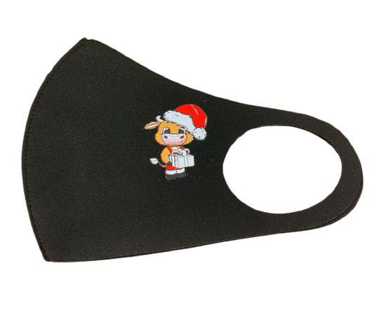 Маска многоразовая защитная чёрная с новогодним принтом БЫЧОК, С рисунком: с принтом, Размер: S-M (окружность 48-55), Цвет маски: Чёрная, Тип товара: Многоразовая маска, фото , изображение 2