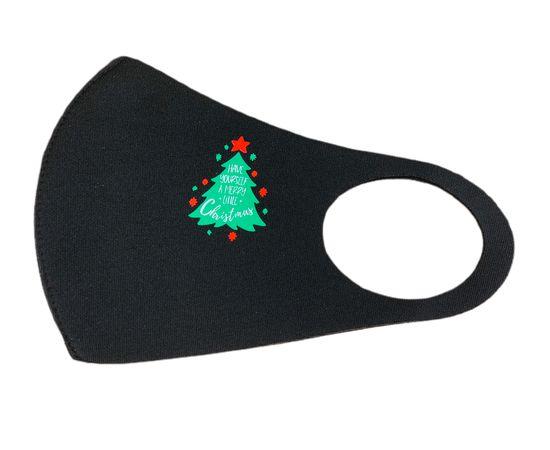 Маска многоразовая защитная чёрная с новогодним принтом ЁЛОЧКА, фото , изображение 2