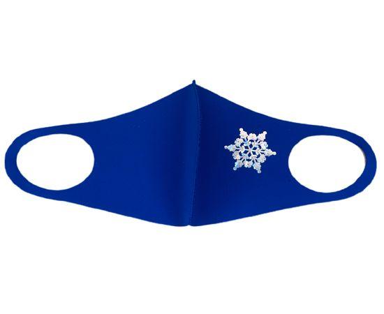 Маска детская многоразовая синяя с новогодним принтом СНЕЖИНКА, фото