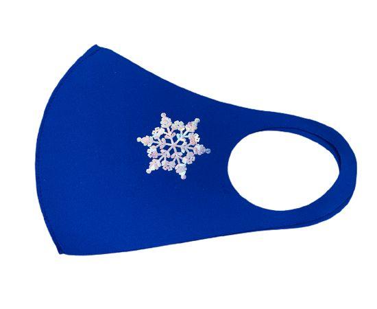 Маска детская многоразовая синяя с новогодним принтом СНЕЖИНКА, фото , изображение 6
