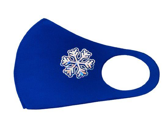 Маска детская многоразовая синяя с новогодним принтом СНЕЖИНКА, фото , изображение 3