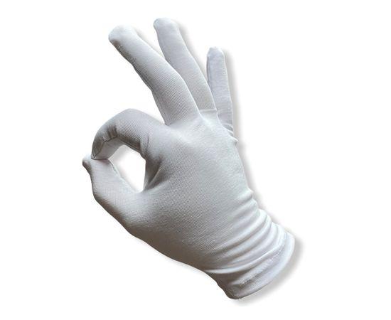 Перчатки хлопковые защитные, белые, размер L, Размер: L, Цвет перчаток: Белый, Тип товара: Перчатки тканевые, фото