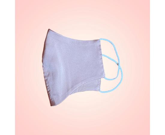 Маска защитная из шелка на резинках, пудровая, фото , изображение 2