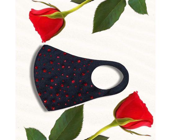 Маска защитная с красными стразами многоразовая, черная, С рисунком: без принта, Размер: S-M (окружность 48-55), Цвет маски: Чёрная, Цвет страз: Красный, Тип товара: Многоразовая маска, фото , изображение 2