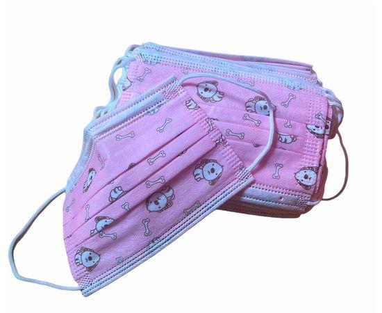 Маска медицинская детская одноразовая 3-х слойная розовая (50 шт.), Тип товара: Одноразовая маска, Цвет маски: Розовая, фото