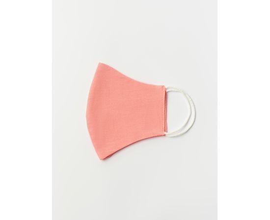Маска многоразовая защитная из 100% хлопка на резинках, коралловая, Цвет маски: Коралловая, Тип товара: Многоразовая маска, фото , изображение 3