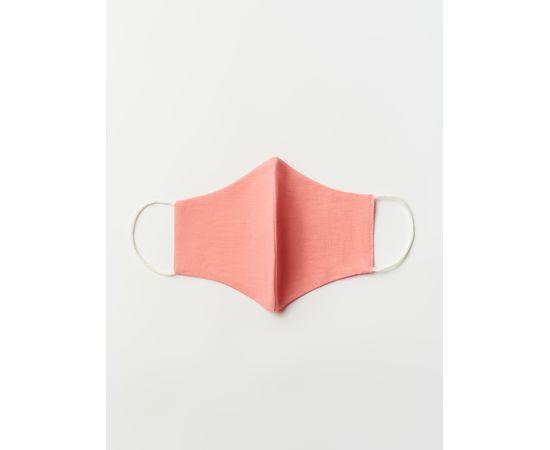 Маска многоразовая защитная из 100% хлопка на резинках, коралловая, Цвет маски: Коралловая, Тип товара: Многоразовая маска, фото , изображение 2