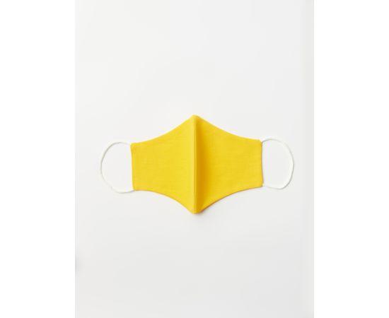 Маска многоразовая защитная из 100% хлопка на резинках, жёлтая, Цвет маски: Жёлтая, Тип товара: Многоразовая маска, фото , изображение 2