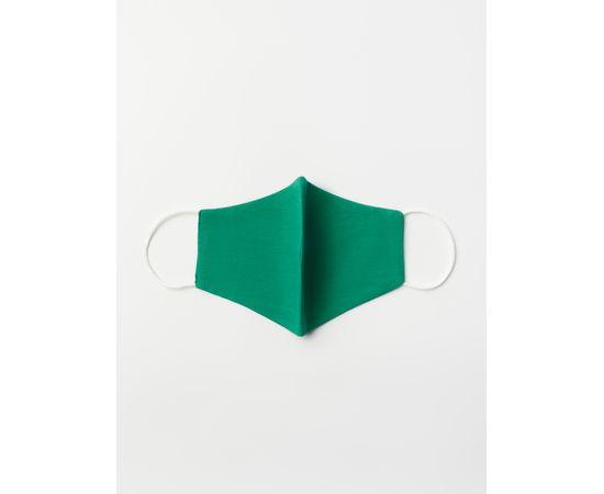 Маска многоразовая защитная из 100% хлопка на резинках, зелёная, Цвет маски: Зелёная, Тип товара: Многоразовая маска, фото , изображение 2