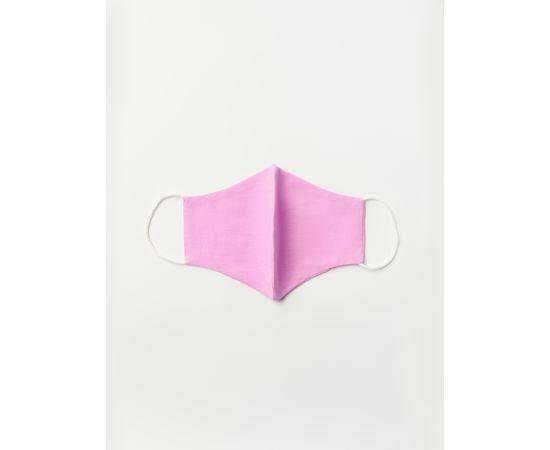 Маска многоразовая защитная из 100% хлопка на резинках, сиреневая, Цвет маски: Сиреневая, Тип товара: Многоразовая маска, фото , изображение 2