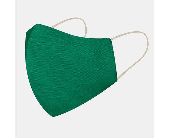 Маска многоразовая защитная из 100% хлопка на резинках, зелёная, Цвет маски: Зелёная, Тип товара: Многоразовая маска, фото