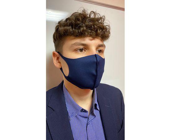 Маска из неопрена многоразовая, тёмно-синяя, размер XXL (1 шт.), С рисунком: без принта, Размер: XXL (окружность 63-71), Цвет маски: Тёмно-синяя, Тип товара: Многоразовая маска, фото , изображение 2