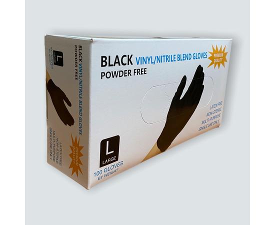 Перчатки одноразовые (черные), винило-нитриловые, размер L, 100шт/50 пар, Размер: L, Цвет перчаток: Черный, Тип товара: Одноразовые перчатки, фото , изображение 2