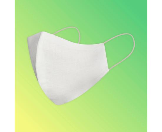 Маска многоразовая защитная из 100% хлопка на резинках, белая, Цвет маски: Белая, Тип товара: Многоразовая маска, фото