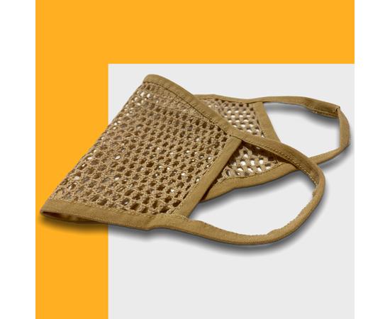 Маска защитная из сетки, бежевая, Размер: L-XL (окружность 55-63), Цвет маски: Бежевая, Тип товара: Сетчатая маска, фото , изображение 3